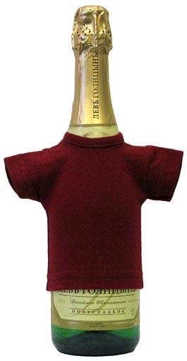 Мини-футболка на бутылку шампанского, бордовая