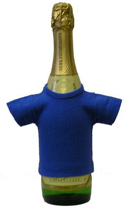 Мини-футболка на бутылку шампанского, васильковая