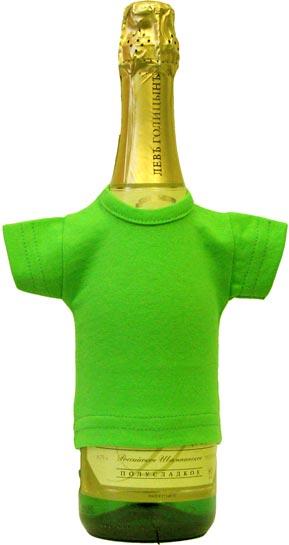 Мини-футболка на бутылку шампанского, зеленое яблоко