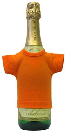 Мини-футболка на бутылку шампанского, оранжевая