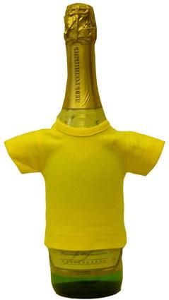 Мини-футболка на бутылку шампанского, яично-желтая