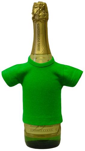 Мини-футболка на бутылку шампанского, ярко-зеленая