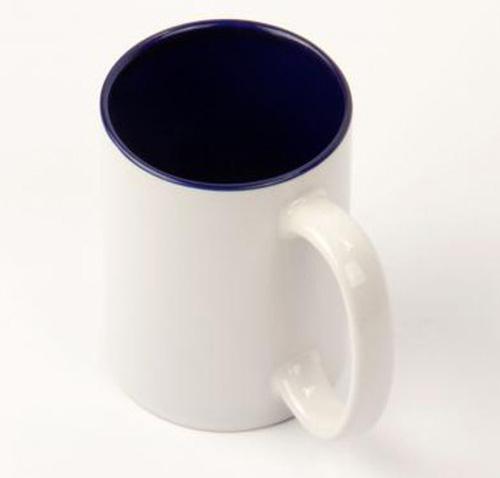 Кружка белая, фиолетовая внутри, ручка белая