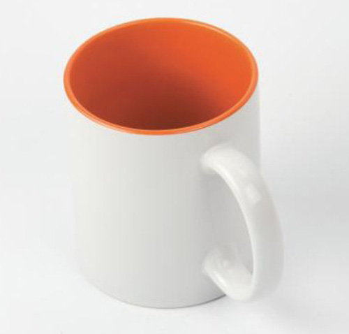 Кружка белая, оранжевая внутри, ручка белая