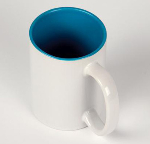 Кружка белая, синяя внутри, ручка белая