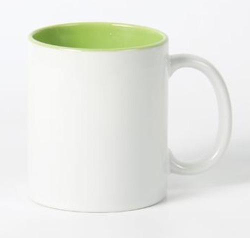 Кружка белая, салатовая внутри, ручка белая