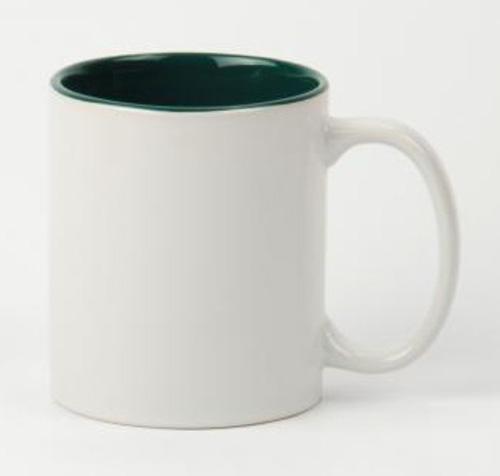 Кружка белая, зеленая внутри, ручка белая