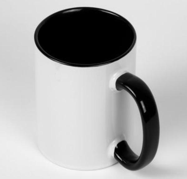 Белая кружка под печать, черная внутри с цветной ручкой