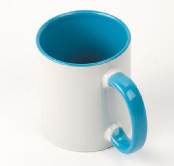 Белая кружка под печать, голубая внутри с цветной ручкой