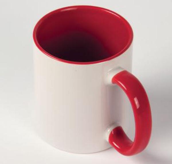 Белая кружка под печать, красная внутри с цветной ручкой