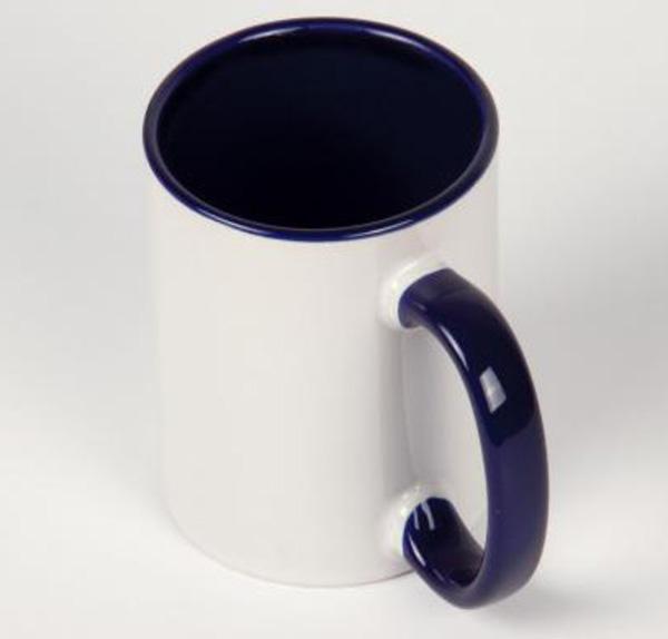 Белая кружка под печать, темно-синяя внутри с цветной ручкой