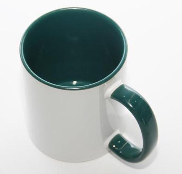 Белая кружка под печать, зеленая внутри с цветной ручкой