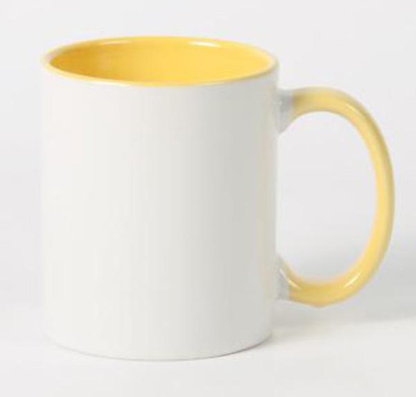 Белая кружка под печать, желтая внутри с цветной ручкой