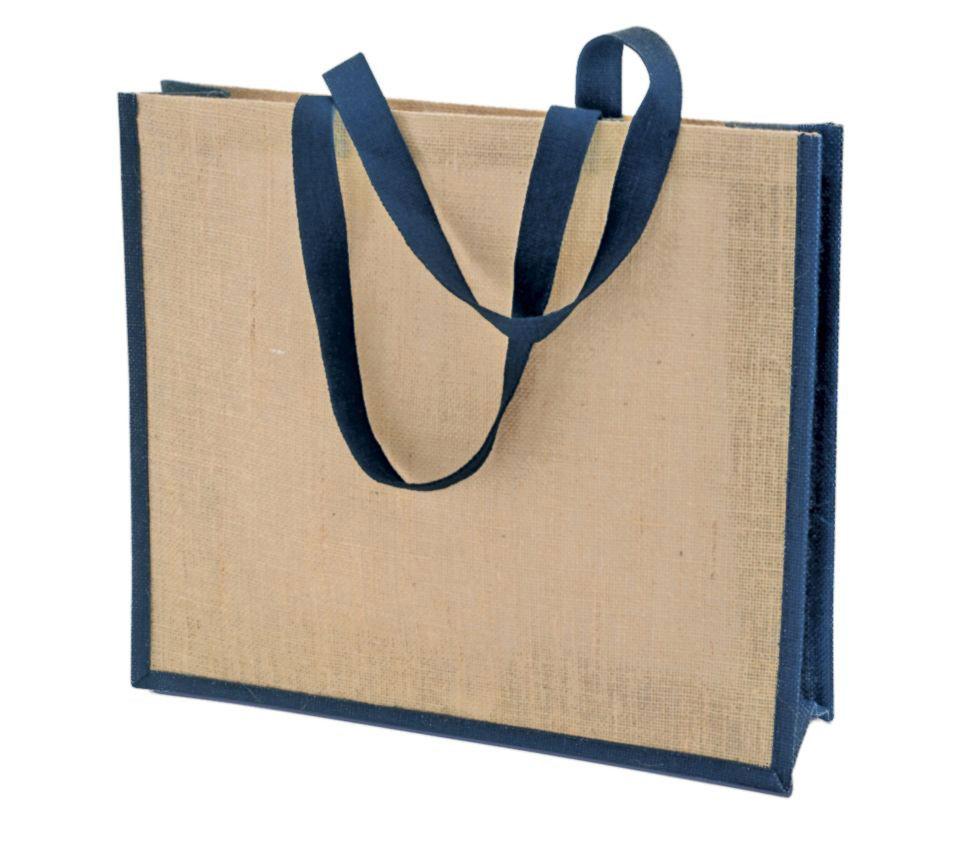 Джутовая сумка под печать логотипа (с синей каймой)