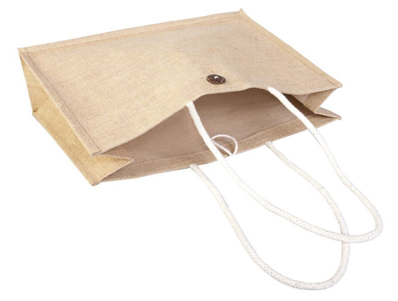 Джутовая сумка с пуговицей под печать логотипа