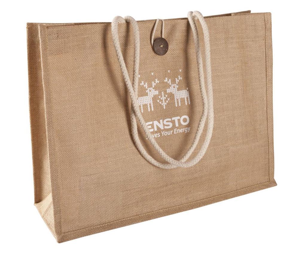Печать логотипа на джутовой сумке с пуговицей