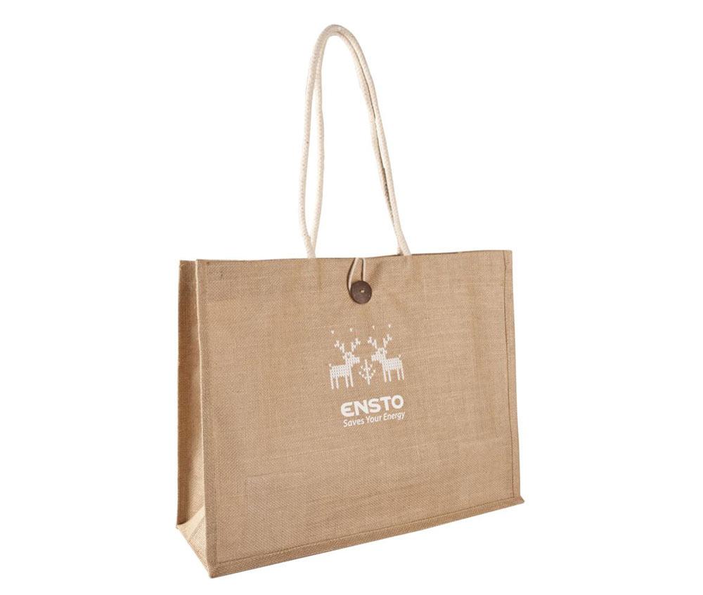 Джутовая сумка с пуговицей и логотипом