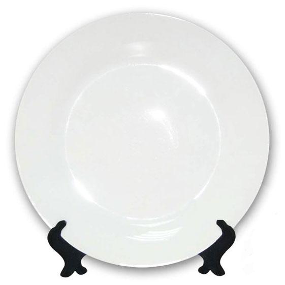 Тарелка керамическая белая под нанесение, диаметр 20–21 см