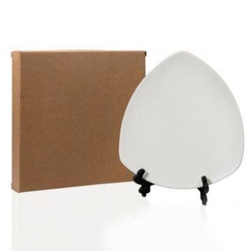 Тарелка белая под нанесение, фарфор, закруглённый треугольник