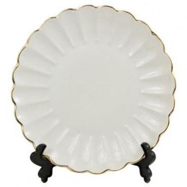 Тарелка под нанесение, фарфоровая волнистая, золотой край, диаметр 16 см
