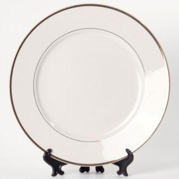 Тарелка под нанесение, керамическая с золотым ободком, диаметр 20–21 см