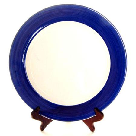 Тарелка под нанесение, белая с синей заливкой, диаметр 200 мм